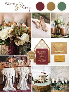 Warm and Cozy Winter Wedding in Wine and Gold with a Little Holiday Sparkle
