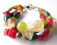 Multistrand gemstone bracelet, triple strand bracelet wth citrine, coral, turquoise magnesite, olivine jade, antique brass beads