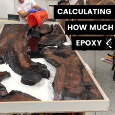 How to Calculate How Much Epoxy For Your Table — Blacktail Studio Diy Resin Wood Table, Epoxy Resin Table, Diy Epoxy, Diy Resin Art, Diy Resin Crafts, Diy Crafts To Do, Woodworking Tutorials, Woodworking Epoxy Resin, Woodworking Workshop