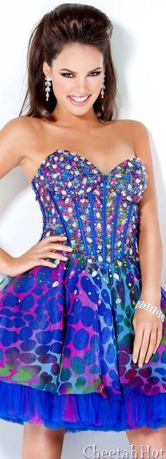 JOVANI - Authentic Designer - Colorful Strapless Party Dress