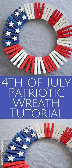 This 4th of July Patriotic Wreath tutorial is perfect for Independence day or Memorial Day. It's so simple and only requires a few supplies. via @foodfunkids