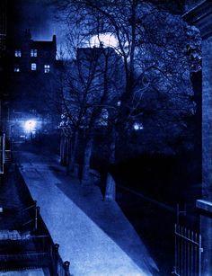 """""""London Night"""" by Harold Burdekin (1934) from Spitalfields Life - View from Villiers Street, Charing Cross"""