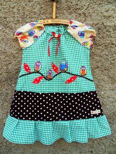 Vogel Bird Kleid Tunika Eulen auf Ast karo von Zellmann Fashion auf DaWanda.com