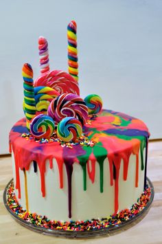 Order delicious rainbow candy cake online – birthday cake in Bangalore, free hom… – Desserts - To Have a Nice Day Candy Birthday Cakes, Candy Cakes, Cupcake Cakes, Birthday Cakes For Kids, Rainbow Birthday Cakes, Colorful Birthday Cake, Lollipop Cake, Art Birthday Cake, Birthday Ideas