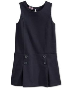 Nautica Little Girls' Uniform Pleated Jumper in Navy $36.00