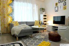 Käyttäjämme Hyypio on sirotellut olohuoneeseensa juuri sopivasti suosikkiaan keltaista. #inspiroivakoti #kodinsisustus #olohuone #keltainen Decor, Furniture, Home, Contemporary, Chaise Lounge, Contemporary Rug, Chaise, Couch, Lounge