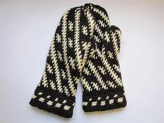 White on Black Mitts, Crocheted by Sanna-Mari Tonteri