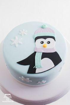 Wintertorte mit Pinguin - winter cake with penguin