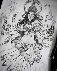 Hindu Tattoos, God Tattoos, Body Art Tattoos, Sleeve Tattoos, Durga, Arte Shiva, Kali Tattoo, Mother Kali, Pineapple Tattoo