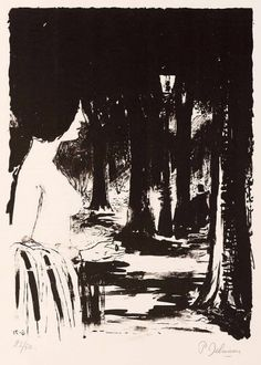 Paul Delvaux (Belgian, 1897-1994), The forest, 1971, Lithograph in black, 60,5 x 42,5 cm