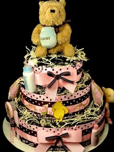 3 Tier Classic Pooh Diaper Cake Baby Shower