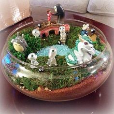 Birthday gift to my boyfriend, a no-maintenance terrarium featuring characters from the three Miyazaki, Studio Ghibli films we have seen together: Spirited Away (Yubaba, Chihiro, Haku and No-Face), My Neighbour Totoro (Totoro and Soot Sprites/Dust Bunnies), and Princess Mononoke (Kodama)