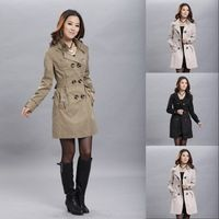 Casacos Femininos 2014 Autunm Winter Long Trench Coat For Women Beige Yellow Black Plus Size M-XXL Free Shipping