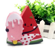 Squishy Watermelon Wearing Swimwear Holding Ice-lolly 11cm Slow Rising With Packaging Gift Decor Toy