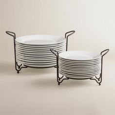 One of my favorite discoveries at WorldMarket.com: Porcelain Plates Sets with Space-Saving Racks
