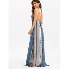 Bohemia halter high slit maxi dress in colormix,xl with $22.30 at Twinkledeals.com.