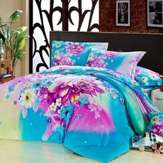 Blue and Purple Secret Butterfly Garden Beautiful Floral Plants 100% Cotton Full, Queen Size Bedding Comforter Cover Sets