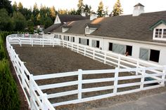 Like the all-weather paddocks close to the barn. For those really yucky weather days so ponies can blow off some steam Barn Stalls, Horse Stalls, Horse Barns, Dream Stables, Dream Barn, Horse Fencing, Pasture Fencing, Equestrian Stables, Horse Barn Designs