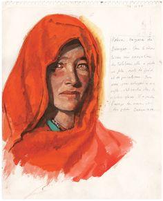 Projeto Femmes du Monde, do artista e fotógrafo francês Titouan Lamazou Atelier D Art, Travel Illustration, Watercolor Sketch, Art Graphique, Mans World, Portrait Inspiration, Female Portrait, Sculptures, Sketches