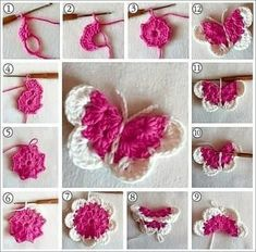 Beautiful Amigurumi Doll Crochet Pattern Ideas and Images Part amigurumi free patterns; amigurumi for beginners; Crochet Butterfly Free Pattern, Crochet Flower Patterns, Love Crochet, Crochet Motif, Diy Crochet, Crochet Crafts, Crochet Flowers, Crochet Toys, Crochet Stitches
