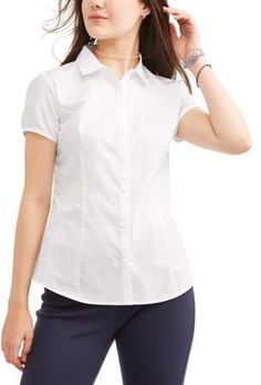 62c3b94bbfa Wonder Nation Juniors School Uniform Short Sleeve Poplin Blouse