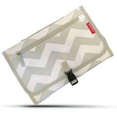 BULA BABY Portable Diaper Changing Pad With Detachable Bag - Grey Chevron