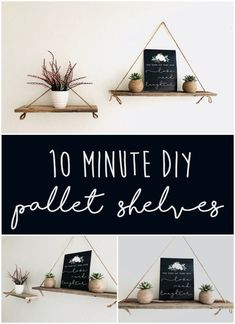 Easy DIY Pallet Shelves Want a pallet diy project that literally takes 10 minutes to make? Youll love how easy this amazing home decor is to create. The post Easy DIY Pallet Shelves appeared first on Pallet Diy. Pallet Shelves Diy, Diy Hanging Shelves, Floating Shelves Diy, Easy Shelves, Unique Shelves, Pallet Cabinet, Diy Home Decor Bedroom, Diy Home Decor On A Budget, Diy Decorations For Home
