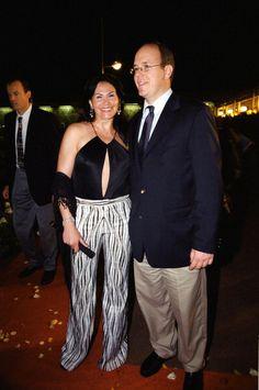 Monaco Music Awards on May 08 2000 Mouna Ayoub and Prince Albert.