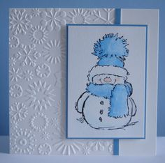 T y snow man Stamp by Penny Black Snowflakes embossing folder by Cuttlebug by elinor Stamped Christmas Cards, Homemade Christmas Cards, Christmas Cards To Make, Xmas Cards, Homemade Cards, Holiday Cards, Primitive Christmas, Country Christmas, Christmas Christmas