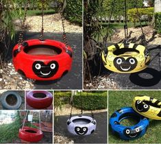 Diy projects How to Repurpose Old Tires Into Creative DIY Kids Tire Swing Vinyl Windows And Your Hom Swing Painting, Painting For Kids, Diy Painting, Diy Tire Swing, Tire Swings, Diy For Kids, Crafts For Kids, Simple Tree House, Painted Tires