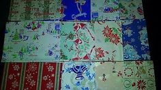 Lot of 13 Sheets Vintage Christmas Wrappin Paper & Ribbon w/ Box - 1930/40s (11/01/2014)
