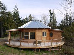 Via Smiling Woods Yurts // Washington coast 20' yurt with a bathroom addition
