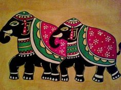 Two Royal Elephants Original Acrylic On Paper Madhubani Painting . Worli Painting, Saree Painting, Kalamkari Painting, Fabric Painting, Madhubani Paintings Peacock, Madhubani Art, Indian Art Paintings, Elefante Hindu, Rajasthani Art