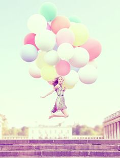 Jumping girl with pastel balloons - great print for Kadie's room if i could find it.