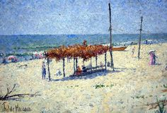 Painting of the beach at Newport, Rhode Island by Childe Hassam ca. 1901. From the Evelyn Annenberg Jaffe Hall collection.