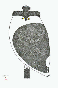 "Item # 	P14CD15 	Price: 	C$800 Title: 	Owl's Outlook 	Dated: 	2014 - Signed Artist: 	Teevee, Ningeokuluk    	Edition: 	50  Community:  	Link   Cape Dorset     	Ref: 	Print #15 of the 2014 Cape Dorset Collection  Size: inches/cm 	27"" x 18"" 68.6 cm x 45.7 cm 	Style: 	Stonecut / Stencil 		Paper: 	kizuki kozo white http://www.inuitarteskimoart.com/images/P14CD15L.jpg"