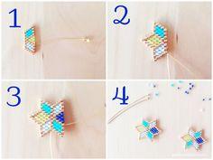 DIY: Geometric Miyuki Star Earrings and Heart Pendant - Petit Bout de Chou - - DIY: Geometric Miyuki Star Earrings and Heart Pendant – Petit Bout de Chou Brick stitch zweite Schritte für Sternohrringe mit Miyuki-Perlen Beaded Jewelry Patterns, Bracelet Patterns, Beading Patterns, Seed Bead Jewelry, Bead Jewellery, Boho Jewelry, Star Earrings, Beaded Earrings, Beaded Bracelets