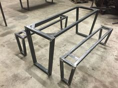 Table and bench set, fresh out of the oven, another Cradock creation. Table And Bench Set, Slab Table, Concrete Table, Metal Dining Table, Dining Room Table, Welded Furniture, Industrial Design Furniture, Iron Furniture, Steel Table Legs