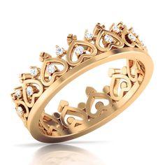 Princess Crown Ring Diamond Wedding Ring Eternity Band Promise Ring Gift For Her #weddingring