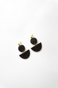One of a kind black glittery polymer clay earrings. Minimal and simple jewelry for any occassion.  https://www.etsy.com/listing/529604307/one-of-a-kind-black-glittery-polymer?ref=listing-shop-header-2