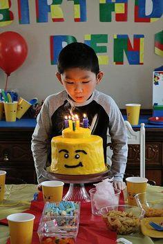 Lego birthday party ideas Lego head cake