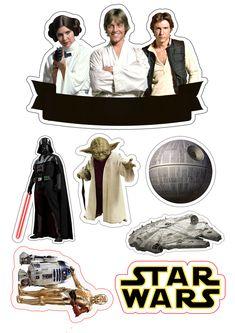 Topo de Bolo Star Wars - Star Wars Cake - Ideas of Star Wars Cake - Star Wars topo de bolo Topodebolo Star Wars Birthday, Star Wars Party, Bolo Star Wars, Decoracion Star Wars, Aniversario Star Wars, Star Wars Cake Toppers, Star Wars Stickers, Printable Star, Star War 3