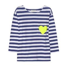 Chinti and Parker heart print striped organic cotton top