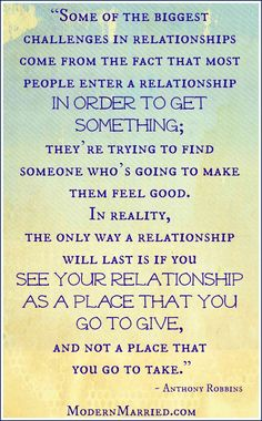 Anthony Robbins Relationship Quote. Click over to the blog to read more marriage inspiration.