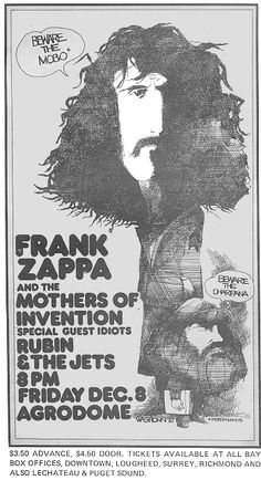 Poster for Zappa & The Mothers at Agrodome, Vancouver, December 8, 1972