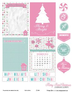 Free holiday printable download of journaling cards and elements suitable for pocket scrapbooking and project life. Free for personal use only.