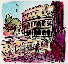 [ #DRAWING ] Ciao Mamma ! - Coliseo, #Roma http://lscrnts.fr/CiaoMama #art #travel