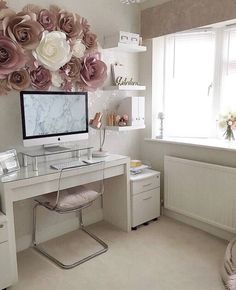 Large Paper Flowers - Paper Flower Backdrop - Nursery Wall Decor - Bridal Shower Decor - Paper Flower Set - Paper Flowers for Girl Nursery Home Office Space, Home Office Design, Home Office Decor, Home Decor, At Home Office Ideas, Glam Room, Bedroom Decor Glam, Flower Wall Decor, Wall Flowers