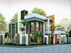 Modern Duplex House Designs Elvations + Plans | CAD Drawing
