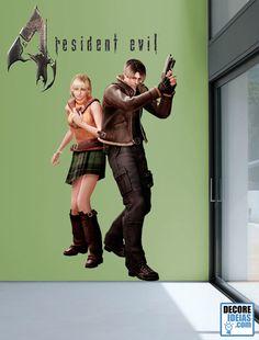 Adesivo Decorativo Games - Resident Evil 4 Um super adesivo gigante de um dos maiores clássicos da Capcom. Leon e Ashley esperam por você.